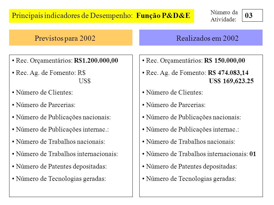 Principais indicadores de Desempenho: Função P&D&E 03
