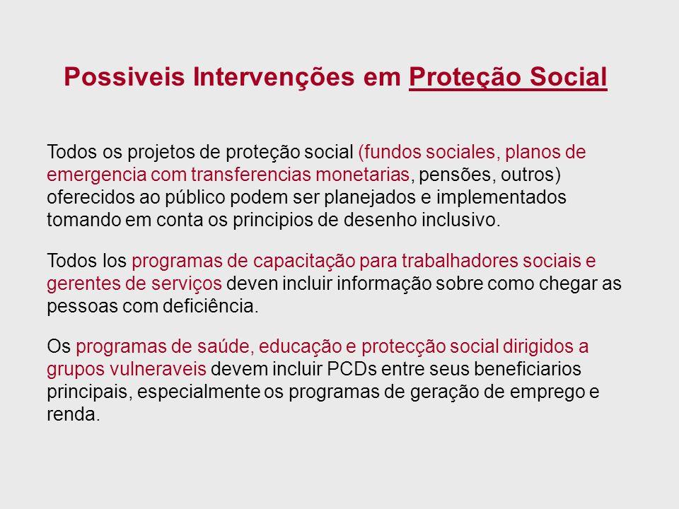 Possiveis Intervenções em Proteção Social