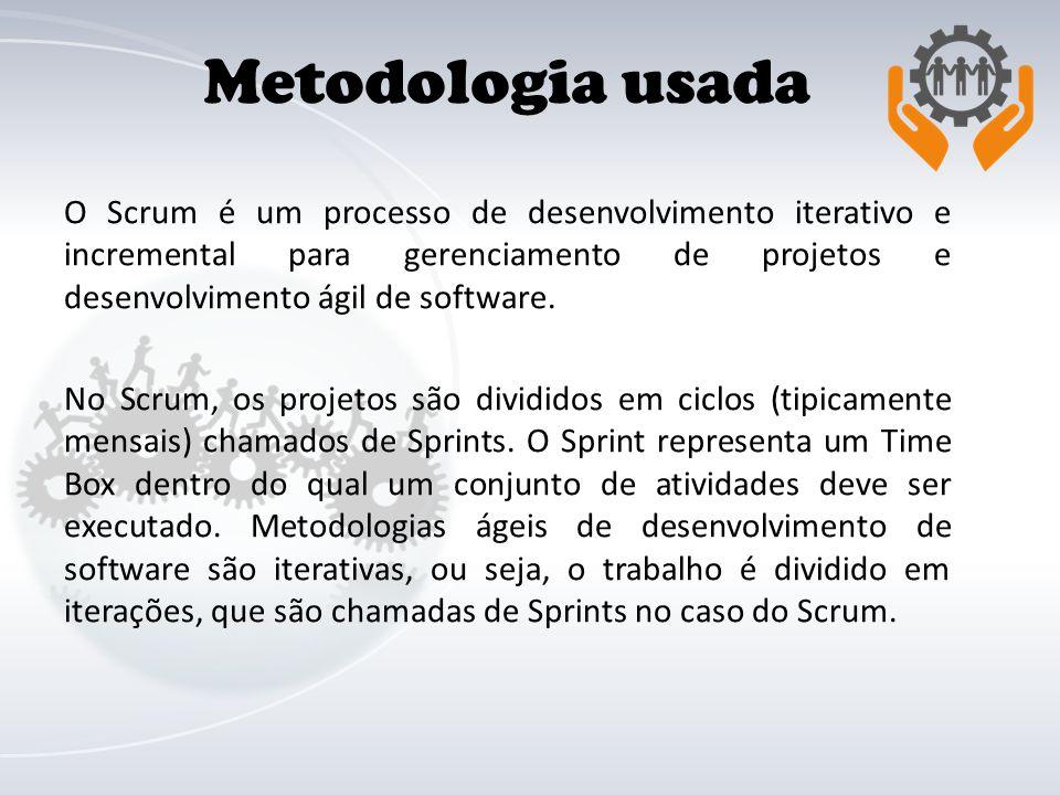 Metodologia usada O Scrum é um processo de desenvolvimento iterativo e incremental para gerenciamento de projetos e desenvolvimento ágil de software.