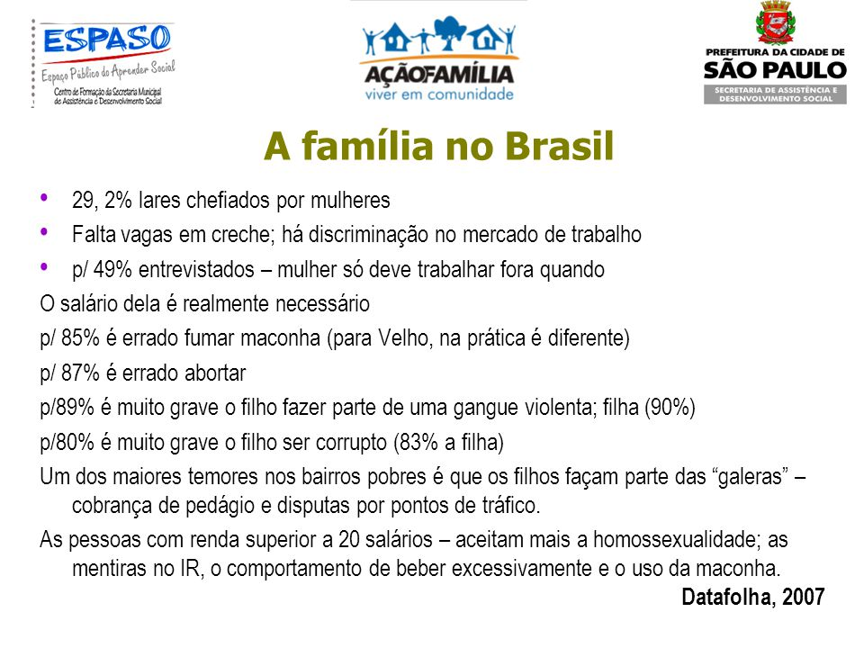 A família no Brasil 29, 2% lares chefiados por mulheres