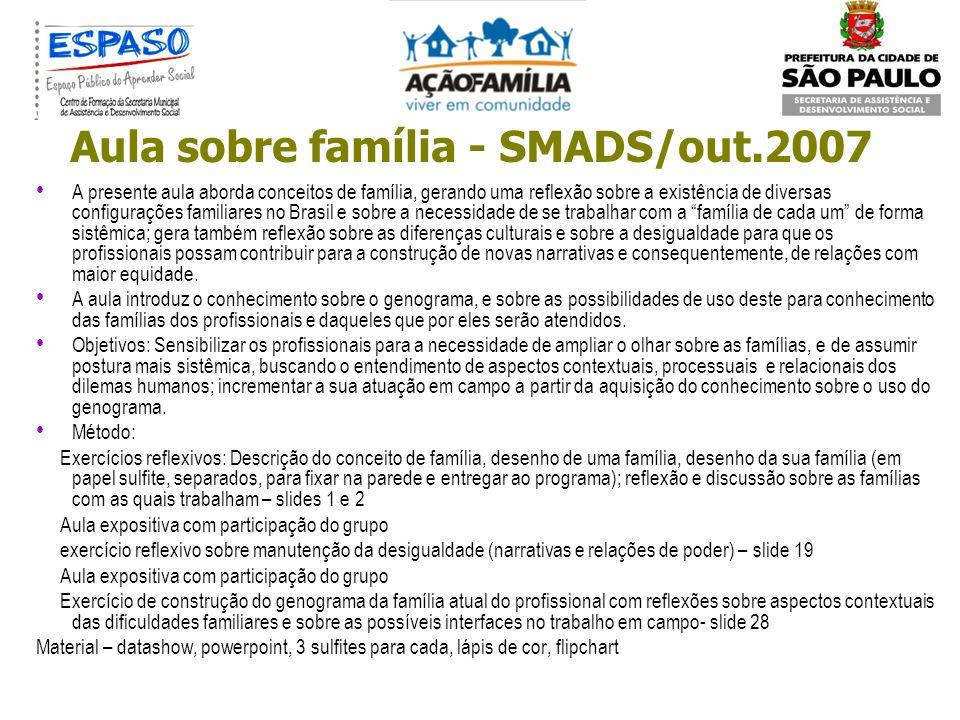 Aula sobre família - SMADS/out.2007