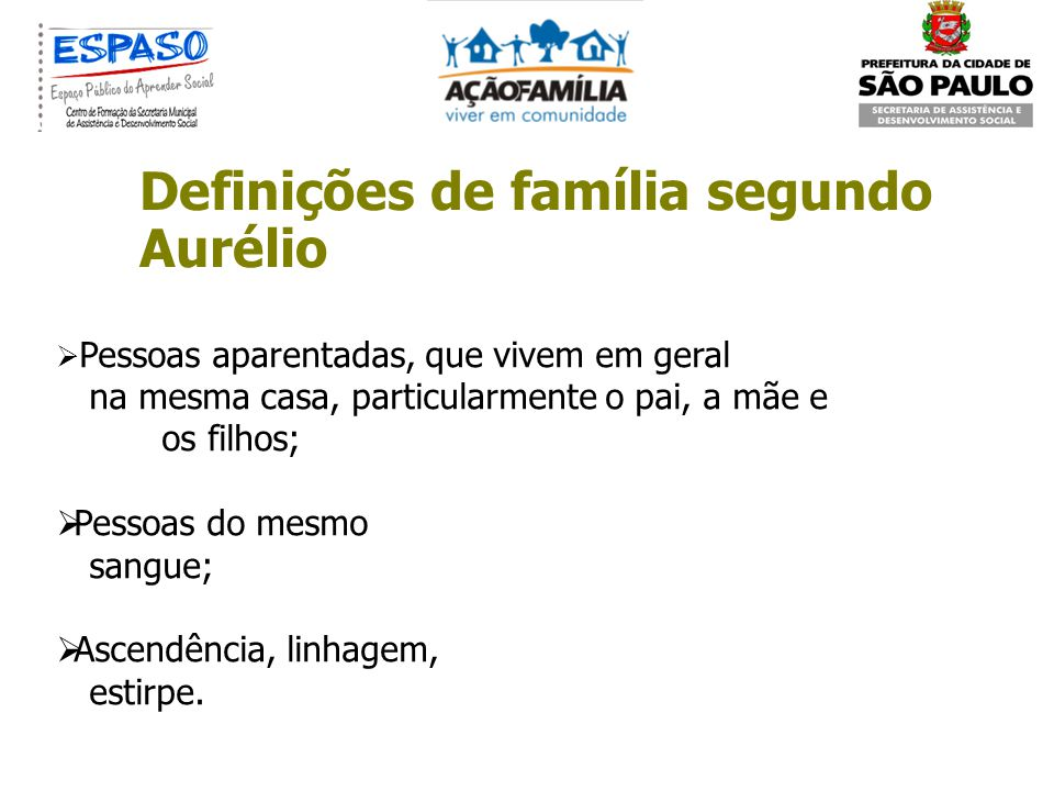 Definições de família segundo Aurélio