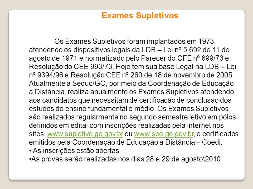 Exames Supletivos