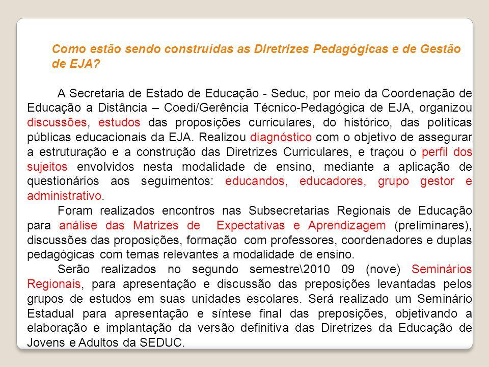 Como estão sendo construídas as Diretrizes Pedagógicas e de Gestão de EJA