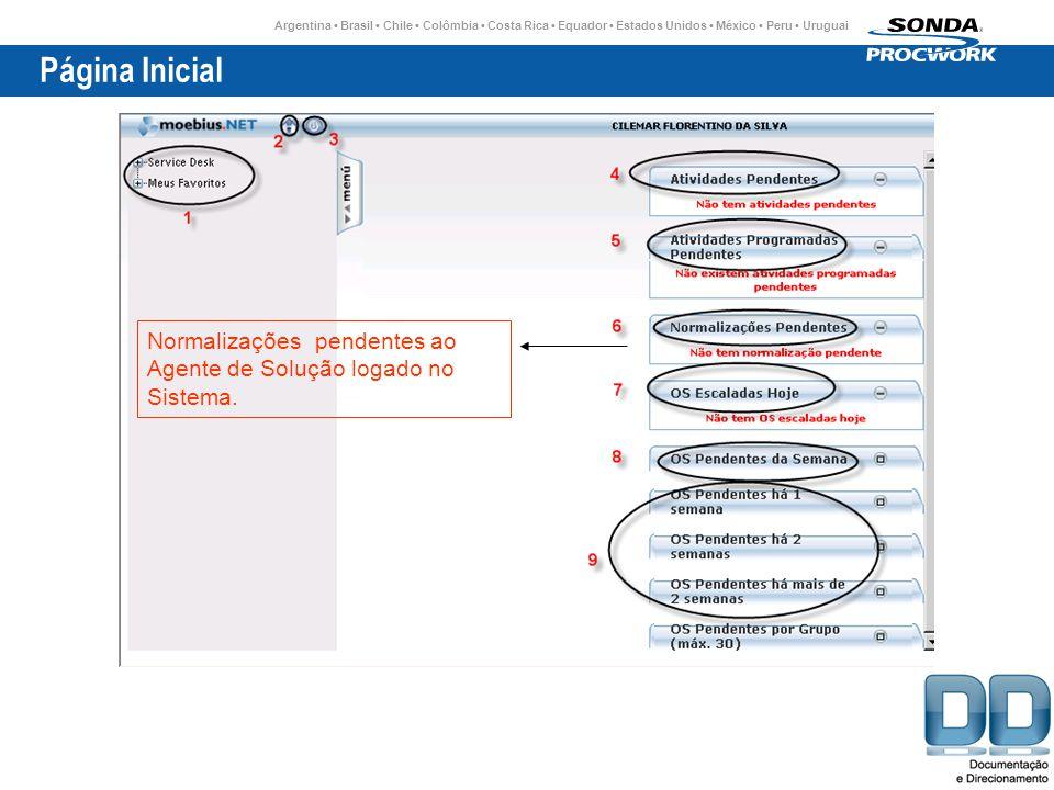 Página Inicial Normalizações pendentes ao Agente de Solução logado no Sistema.