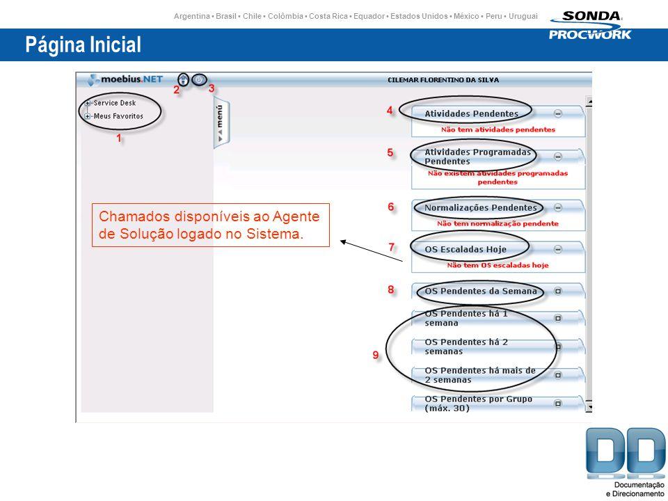 Página Inicial Chamados disponíveis ao Agente de Solução logado no Sistema.