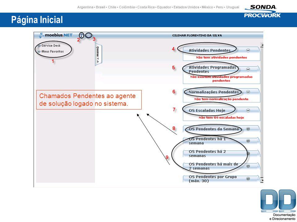 Página Inicial Chamados Pendentes ao agente de solução logado no sistema.