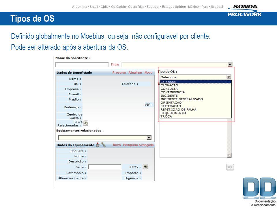 Tipos de OS Definido globalmente no Moebius, ou seja, não configurável por cliente.