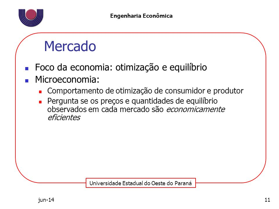 Mercado Foco da economia: otimização e equilíbrio Microeconomia: