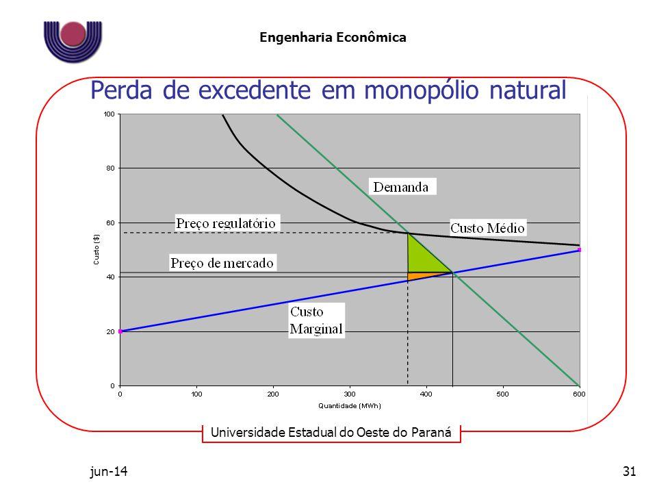 Perda de excedente em monopólio natural
