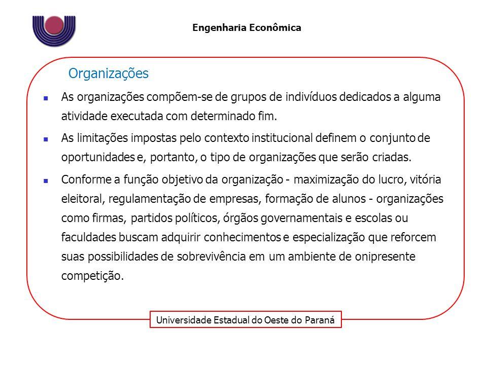 Organizações As organizações compõem-se de grupos de indivíduos dedicados a alguma atividade executada com determinado fim.
