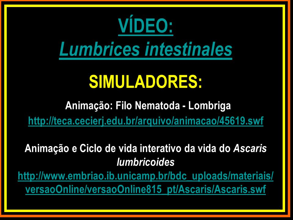 VÍDEO: Lumbrices intestinales