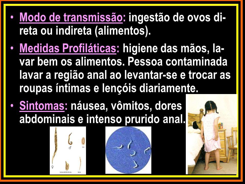 Modo de transmissão: ingestão de ovos di-reta ou indireta (alimentos).