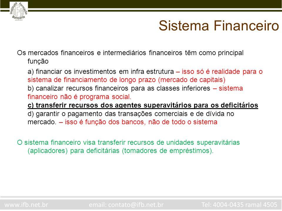 Sistema Financeiro Os mercados financeiros e intermediários financeiros têm como principal função.