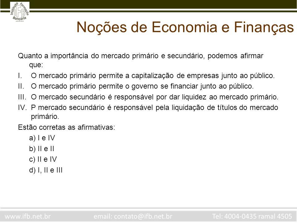 Noções de Economia e Finanças