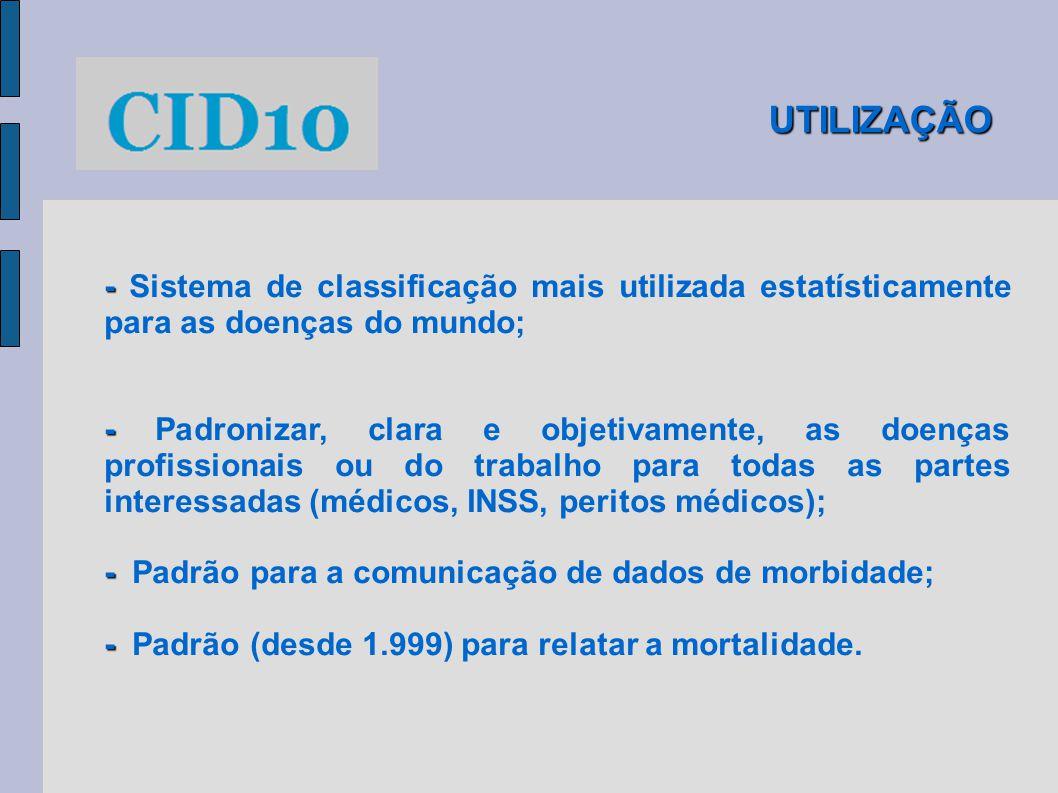 UTILIZAÇÃO - Sistema de classificação mais utilizada estatísticamente para as doenças do mundo;