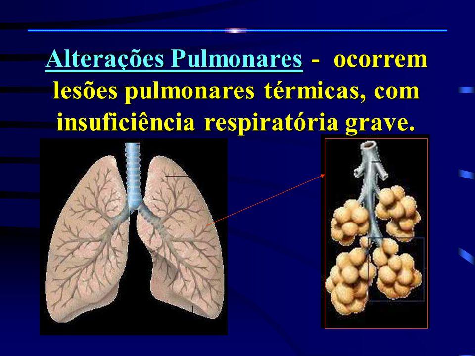 Alterações Pulmonares - ocorrem lesões pulmonares térmicas, com insuficiência respiratória grave.