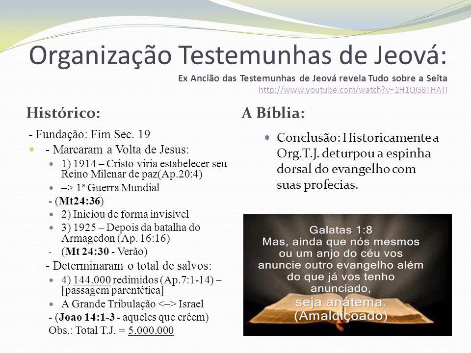 Organização Testemunhas de Jeová: Ex Ancião das Testemunhas de Jeová revela Tudo sobre a Seita http://www.youtube.com/watch v=1H1QG8THATI