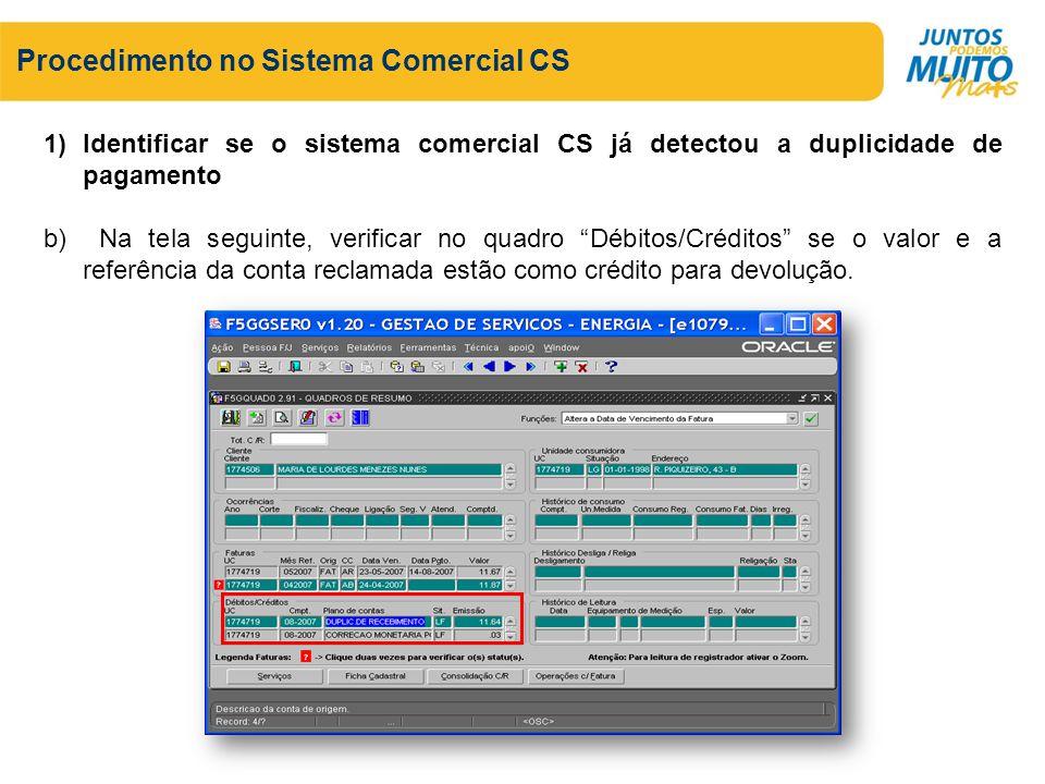 Procedimento no Sistema Comercial CS