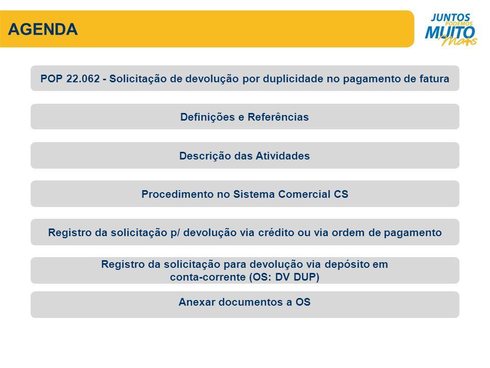 AGENDA POP 22.062 - Solicitação de devolução por duplicidade no pagamento de fatura. Definições e Referências.