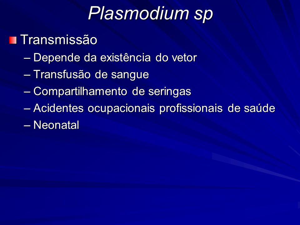 Plasmodium sp Transmissão Depende da existência do vetor