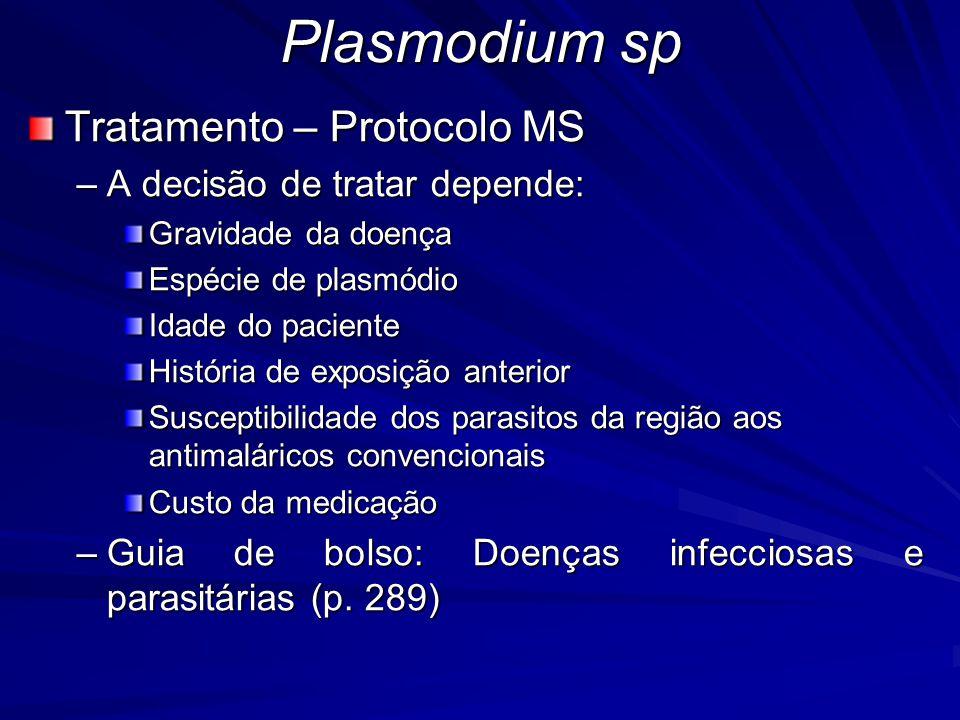 Plasmodium sp Tratamento – Protocolo MS A decisão de tratar depende: