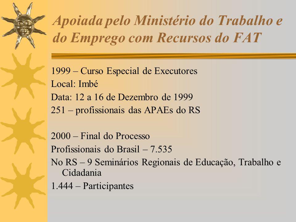 Apoiada pelo Ministério do Trabalho e do Emprego com Recursos do FAT