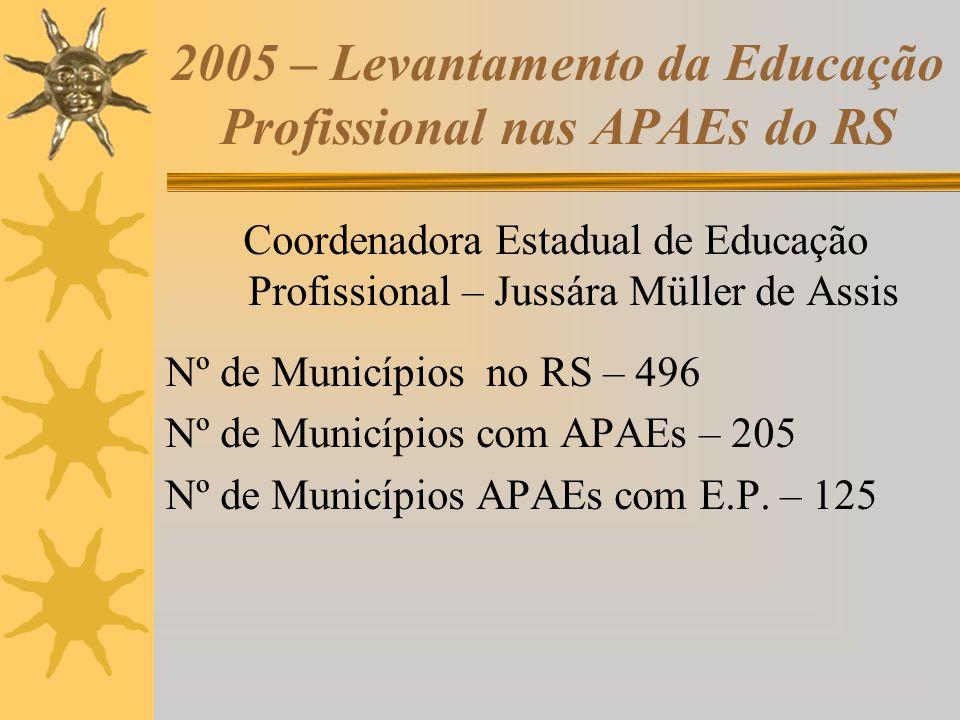 2005 – Levantamento da Educação Profissional nas APAEs do RS