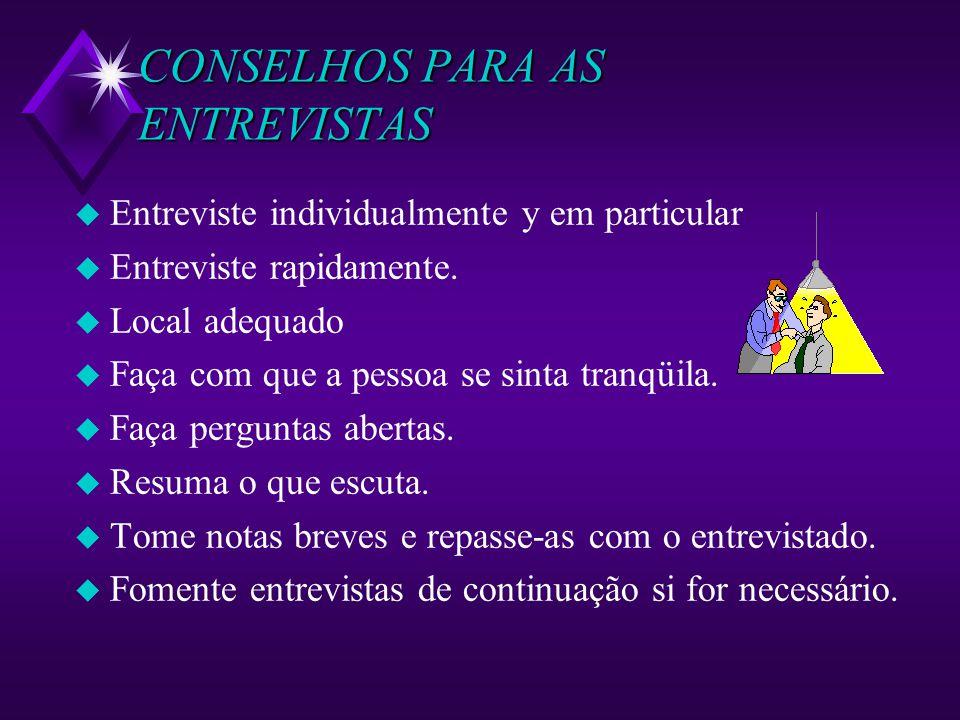 CONSELHOS PARA AS ENTREVISTAS