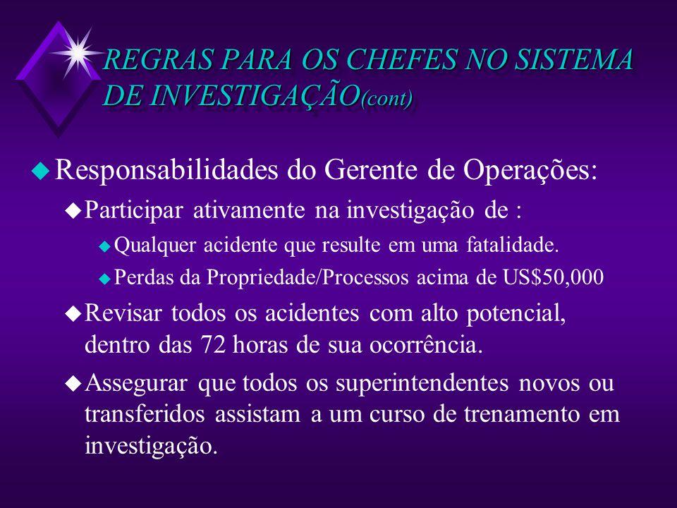 REGRAS PARA OS CHEFES NO SISTEMA DE INVESTIGAÇÃO(cont)