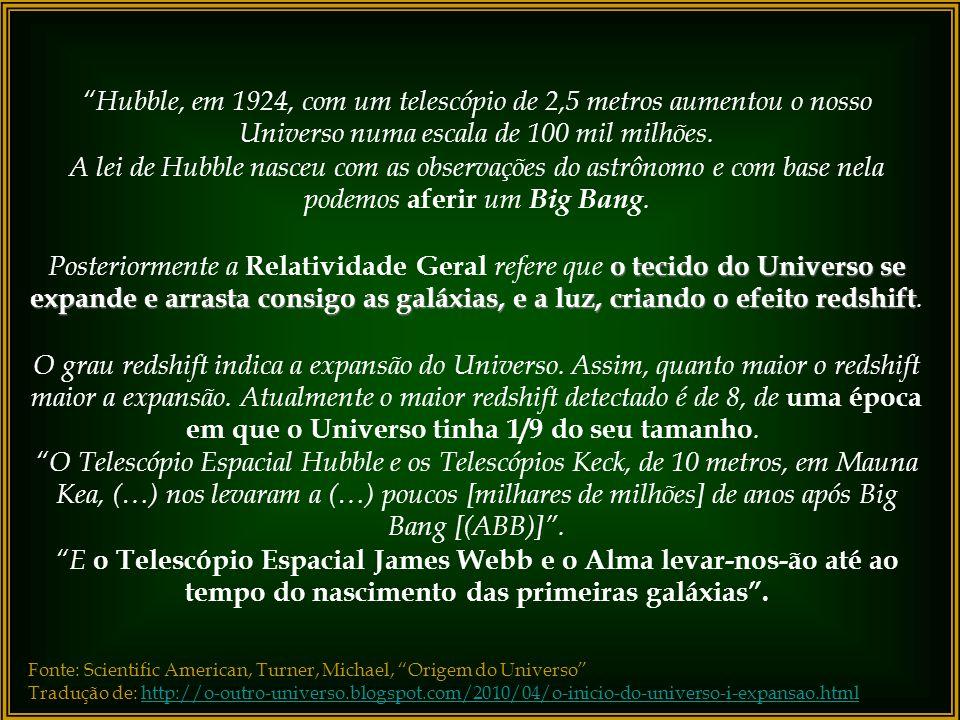 Hubble, em 1924, com um telescópio de 2,5 metros aumentou o nosso Universo numa escala de 100 mil milhões.