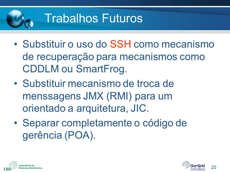 Trabalhos Futuros Substituir o uso do SSH como mecanismo de recuperação para mecanismos como CDDLM ou SmartFrog.