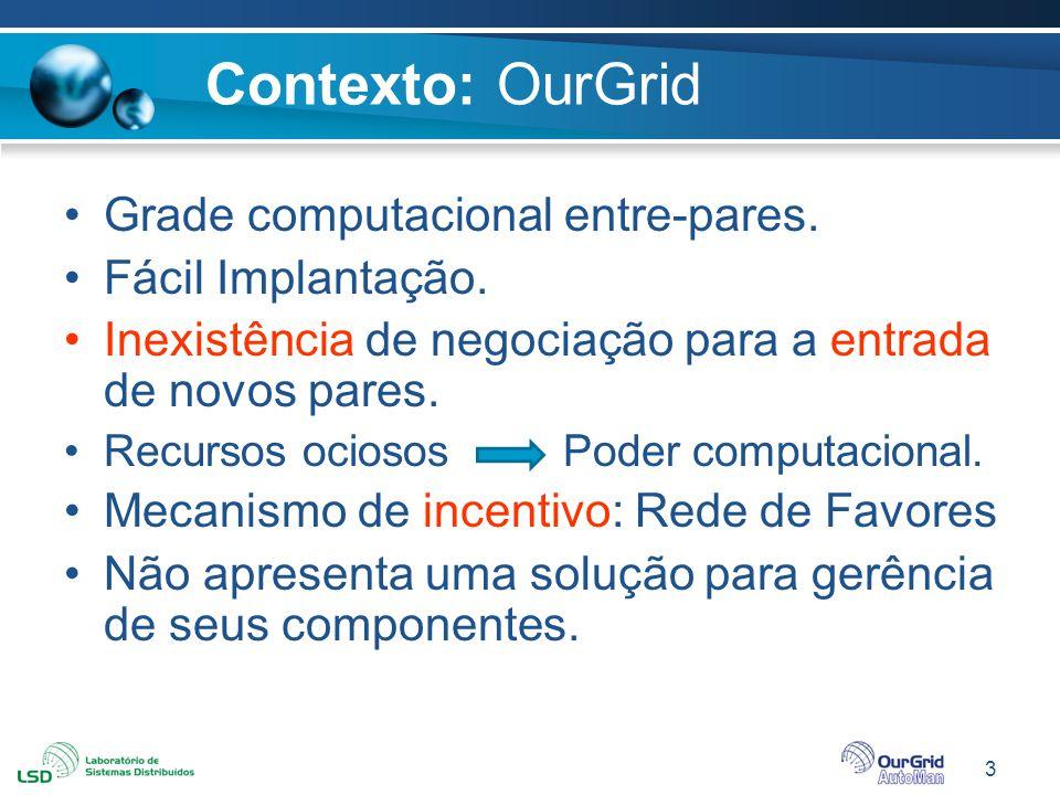 Contexto: OurGrid Grade computacional entre-pares. Fácil Implantação.