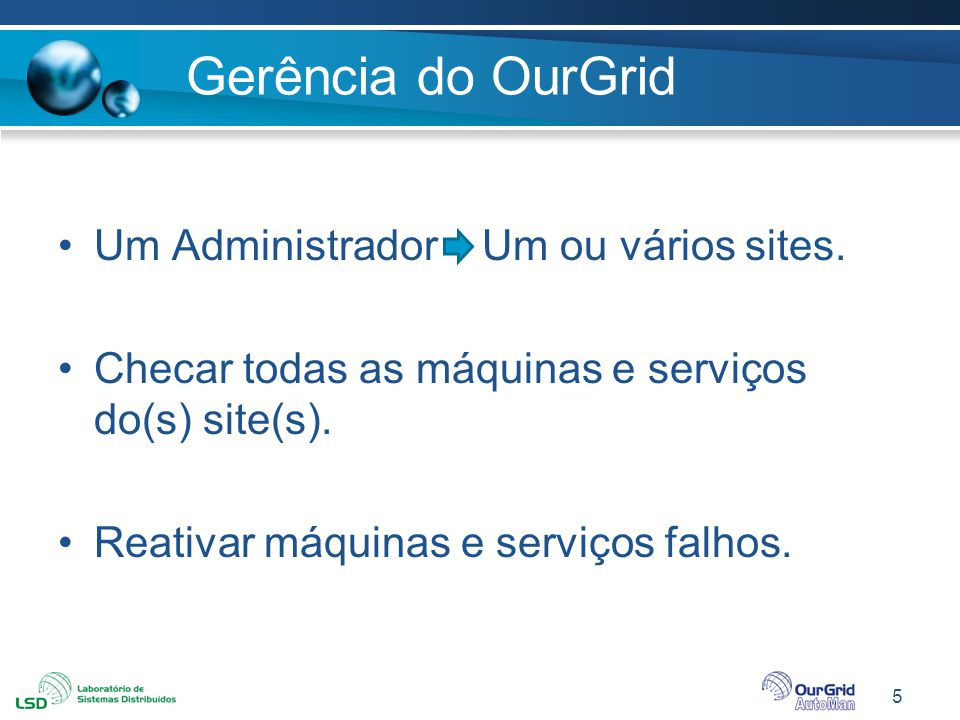 Gerência do OurGrid Um Administrador Um ou vários sites.