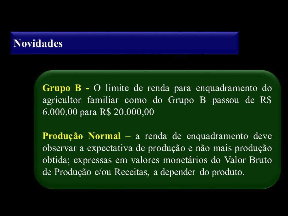 Novidades Grupo B - O limite de renda para enquadramento do agricultor familiar como do Grupo B passou de R$ 6.000,00 para R$ 20.000,00.