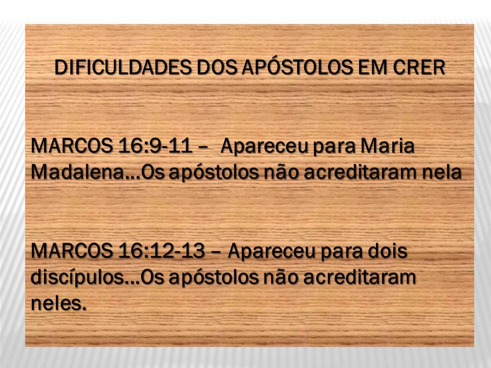 DIFICULDADES DOS APÓSTOLOS EM CRER