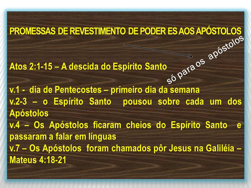 PROMESSAS DE REVESTIMENTO DE PODER ES AOS APÓSTOLOS