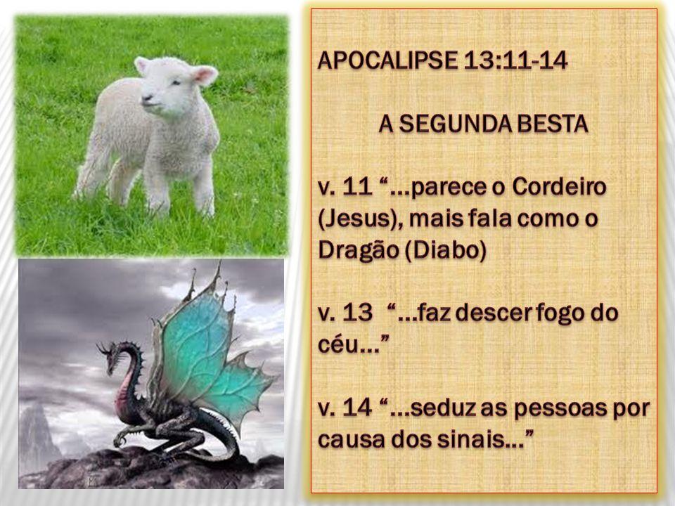 APOCALIPSE 13:11-14 A SEGUNDA BESTA. v. 11 ...parece o Cordeiro (Jesus), mais fala como o Dragão (Diabo)