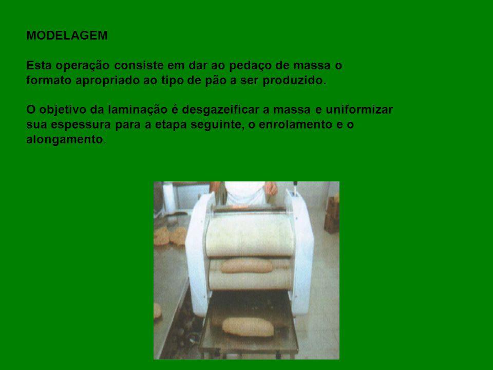 MODELAGEM Esta operação consiste em dar ao pedaço de massa o. formato apropriado ao tipo de pão a ser produzido.