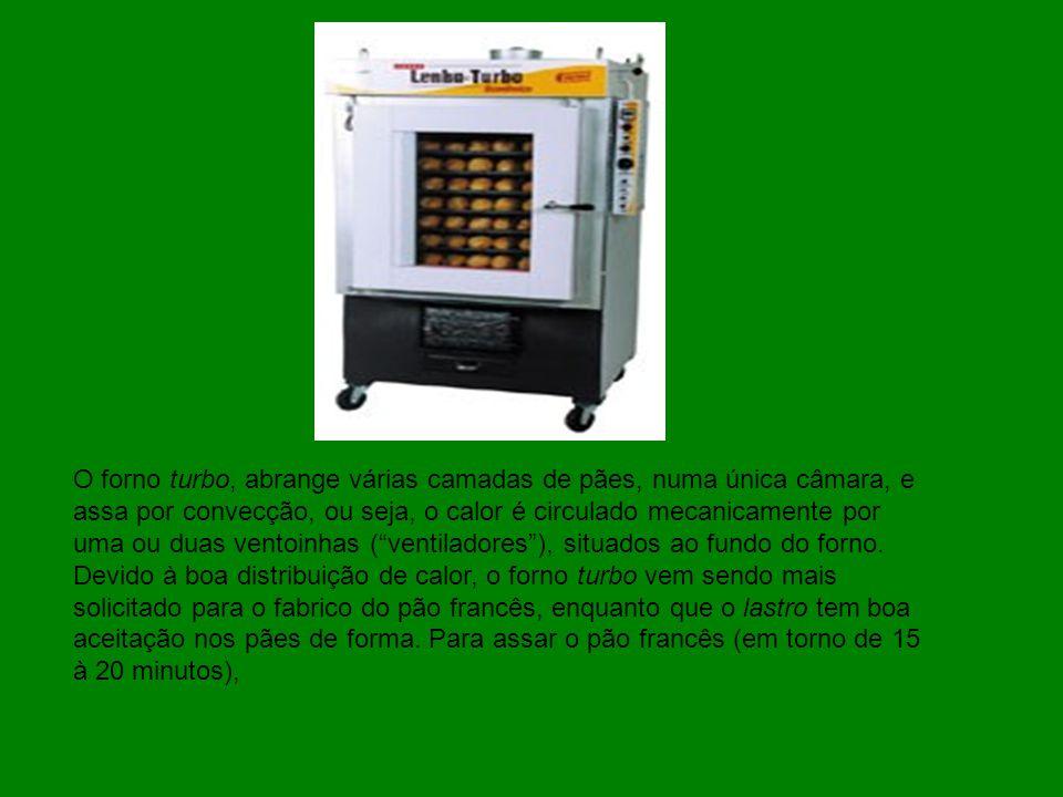 O forno turbo, abrange várias camadas de pães, numa única câmara, e assa por convecção, ou seja, o calor é circulado mecanicamente por uma ou duas ventoinhas ( ventiladores ), situados ao fundo do forno.