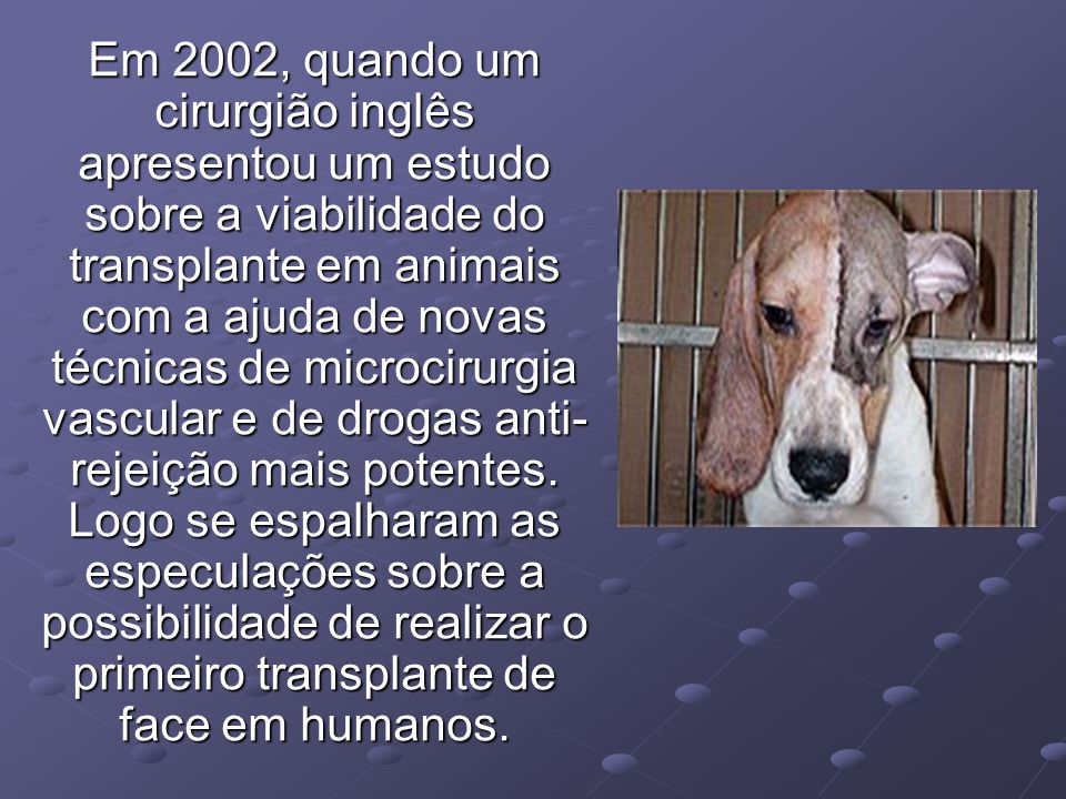 Em 2002, quando um cirurgião inglês apresentou um estudo sobre a viabilidade do transplante em animais com a ajuda de novas técnicas de microcirurgia vascular e de drogas anti-rejeição mais potentes.