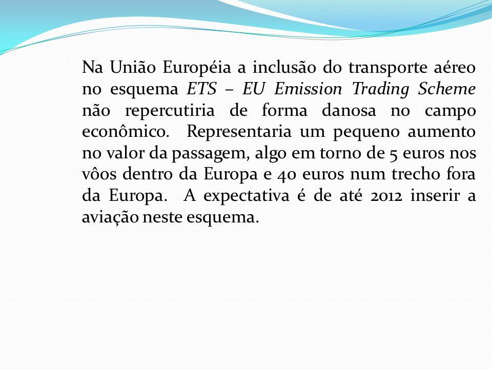 Na União Européia a inclusão do transporte aéreo no esquema ETS – EU Emission Trading Scheme não repercutiria de forma danosa no campo econômico.