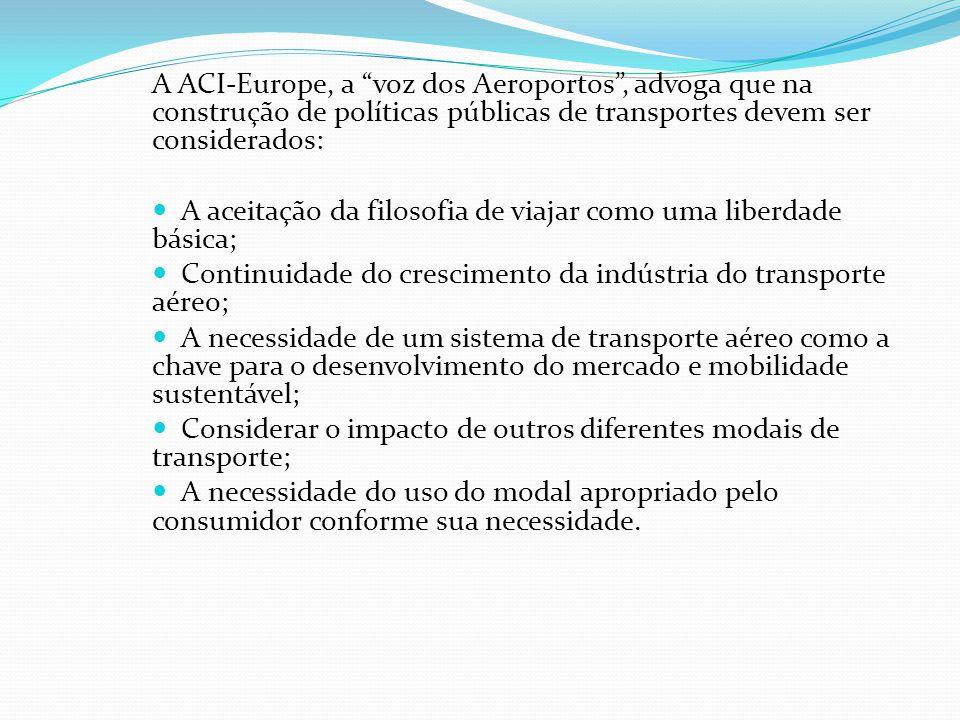 A ACI-Europe, a voz dos Aeroportos , advoga que na construção de políticas públicas de transportes devem ser considerados: