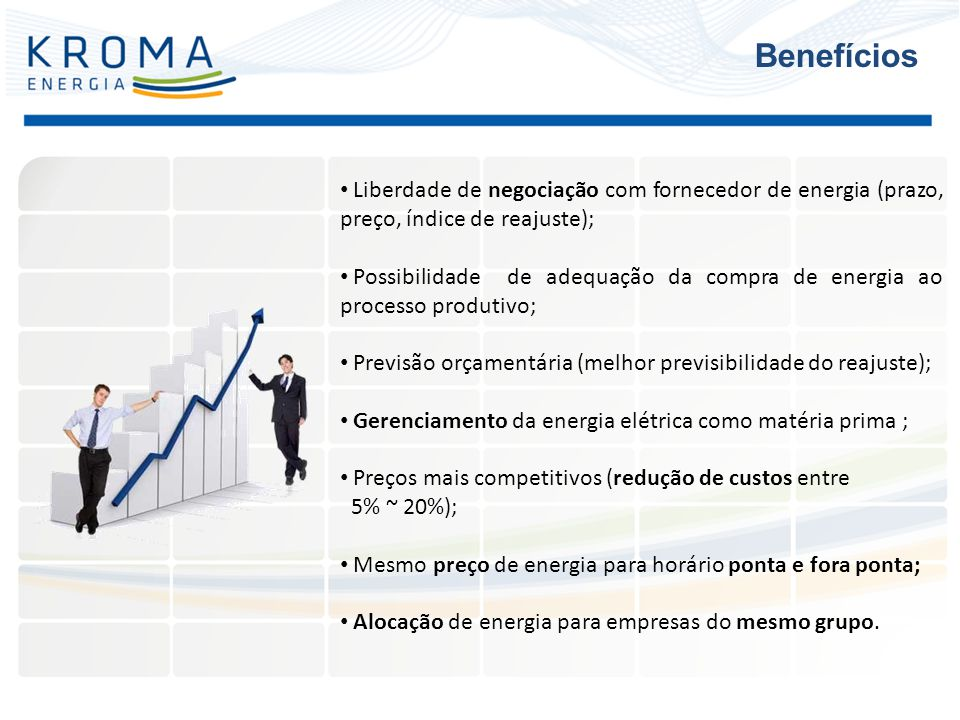 Benefícios Liberdade de negociação com fornecedor de energia (prazo, preço, índice de reajuste);