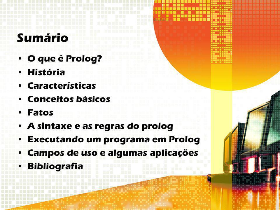 Sumário O que é Prolog História Características Conceitos básicos