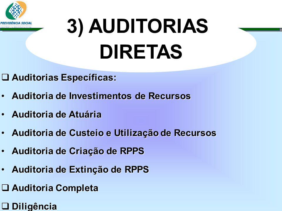 3) AUDITORIAS DIRETAS Auditorias Específicas: