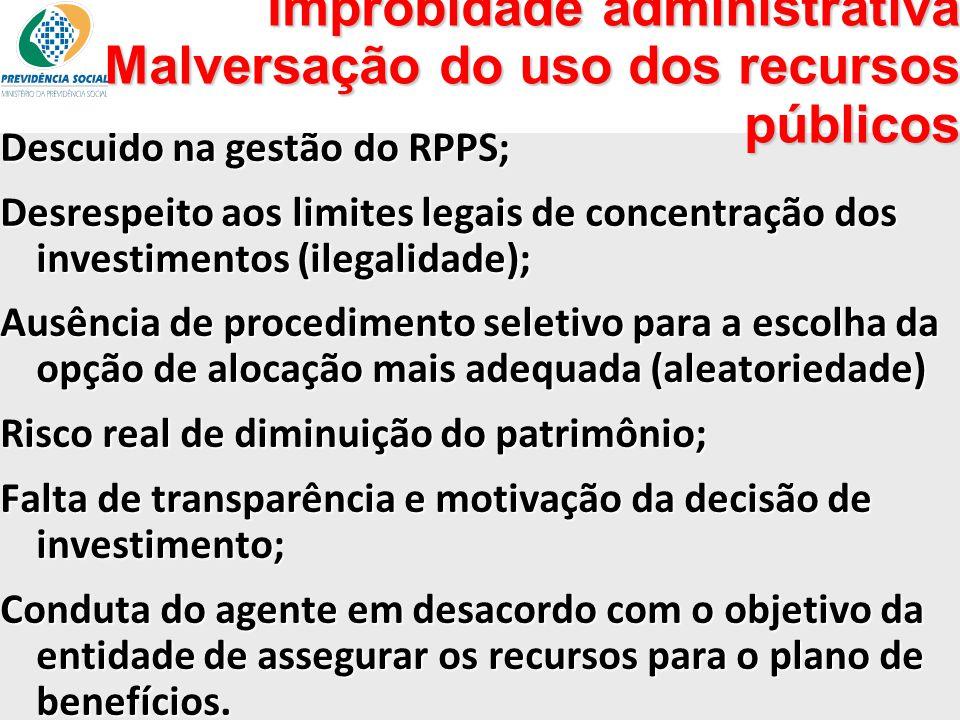 Improbidade administrativa Malversação do uso dos recursos públicos