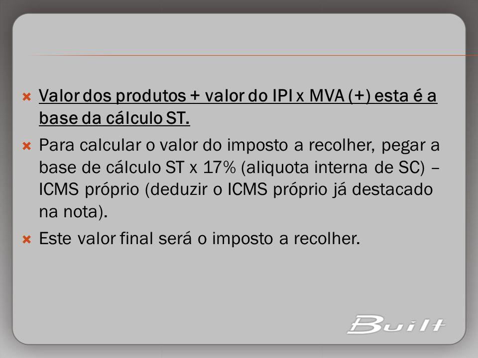 Valor dos produtos + valor do IPI x MVA (+) esta é a base da cálculo ST.