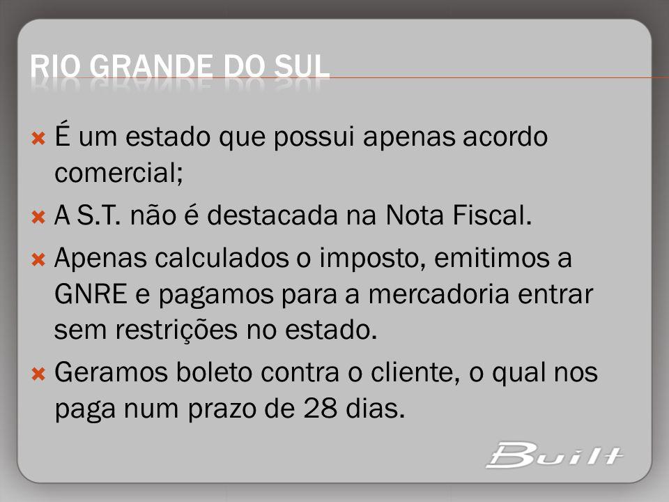 RIO GRANDE DO SUL É um estado que possui apenas acordo comercial;