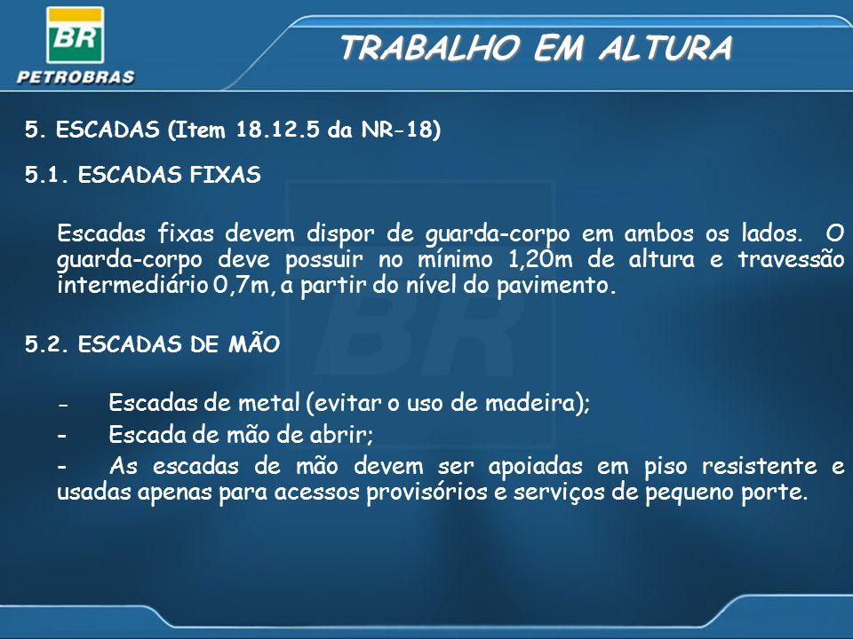 TRABALHO EM ALTURA 5. ESCADAS (Item 18.12.5 da NR-18) 5.1. ESCADAS FIXAS.